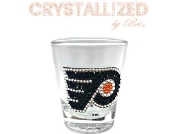 cb8a28afa22c Crystallized Sports Shot Glass Football Baseball Basketball Hockey Bling  with Swarovski Crystals - Crystall!zed by Bri Philadelphia Flyers