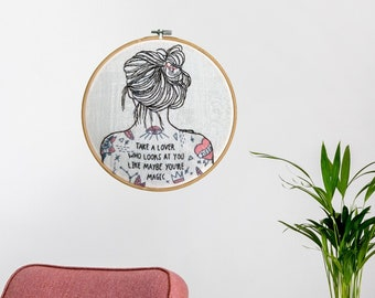 Embroidery painting LOVE, textile art wall decoration for living room home office hallway, picture inspirational quotes motivational sayings, modern interior