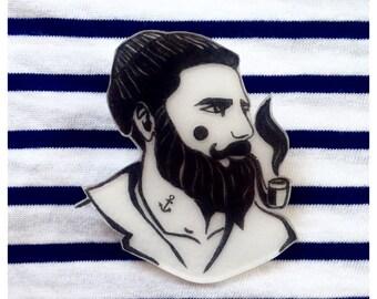 Rockabilly Damen T-Shirt Anchor Mustache Matrose Bart Anker Vintage