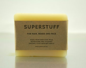 For hair, beard and face. Made from raw goat milk.