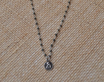 Sterling Silver Guardian Angel Pendant on Pyrite Rosary Chain