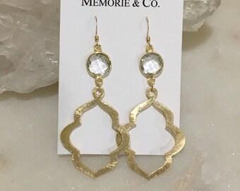 Bezel Set Quartz Crystal Earrings with Gold Marquis Drop