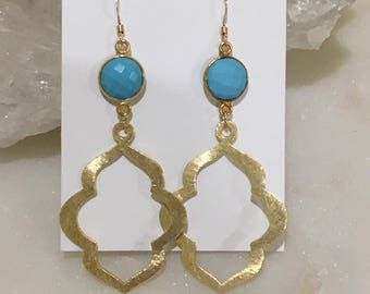 Bezel Set Turqouise and Gold Marquis Drop Earrings