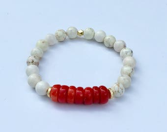 White Magnesite Stretch Bracelet with Red Bamboo Coral Focal Beads