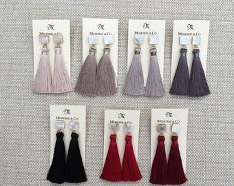Silk Tassel Earrings on Mother of Pearl Post | originally 28 now 18