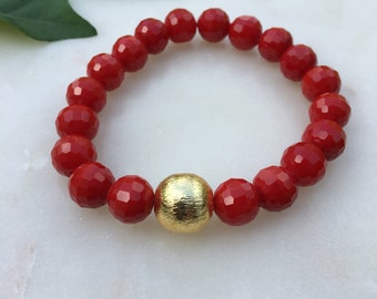 Red Crystal Stretch Bracelet with Gold Plated Focal Bead | Game Day Jewelry | Stack Bracelet