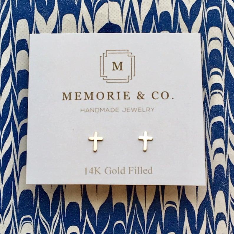 Dainty 14k Gold Filled Cross Earrings  Gold Stud Earrings  image 1
