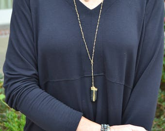 Long Faceted Pyrite Rosary Chain Necklace with Black Tourmaline Pendant