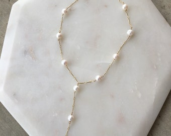Freshwater Pearl Y-Necklace   Spring Jewelry   Bridal Jewelry