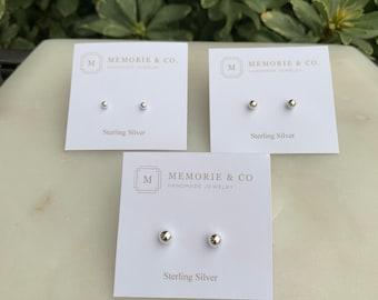 Sterling Silver Bead Earrings | Silver Ball Earrings | Silver Bead Earrings | Silver Bead Stud Earrings