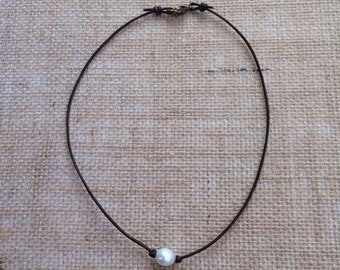 The Anna - Freshwater Pearl and Leather Necklace - Available in 4 lengths