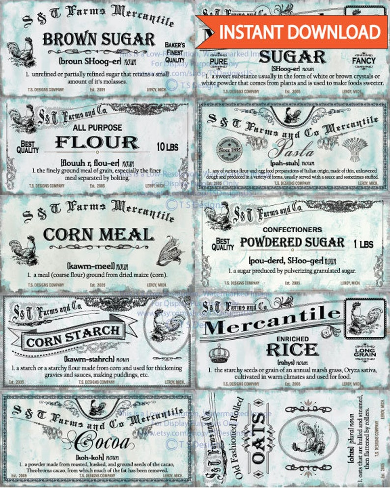 Shabby Chic Vintage Pantry Labels Instant Download Spice