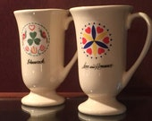 Vintage Irish Hex coffee mugs, Pennsylvania Dutch hex sign, Irish coffee mug, love and romance, shamrock, Baileys and coffee,