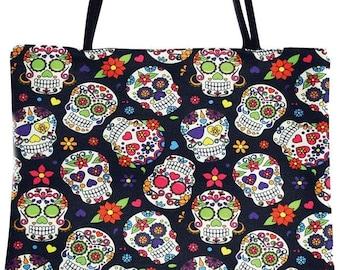 Day Of The Dead Sugar Skull With Floral Canvas Top Handle Tote Bag Shoulder Bag Handbag for Women