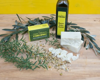 Rosemary chamomile olive soap, handmade Greek olive soap, cold process soap, natural soap, bath wash, face wash, skin care, bath products
