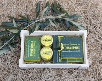 Traditional olive soap gift basket, handmade bath gift set of 7, organic bath care products, Greek olive oil soap box set, cold process soap