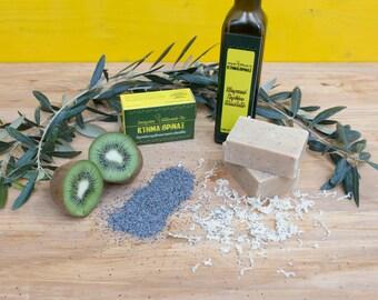 Kiwi poppy seed soap bar, pure olive oil soap, handmade cold process soap, vegan soap, fruit soap, body scrub, relax refresh renew, skincare