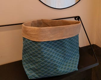 Coated cotton/linen fabric basket