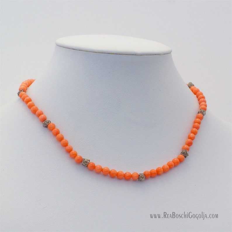 Salmon Natural Coral Necklace with Unique Sterling Silver image 0