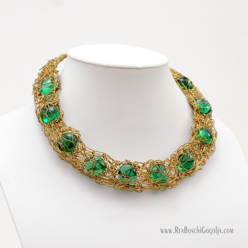 Unique Necklace with Green Crystal Glass in Sculpted Gold image 0