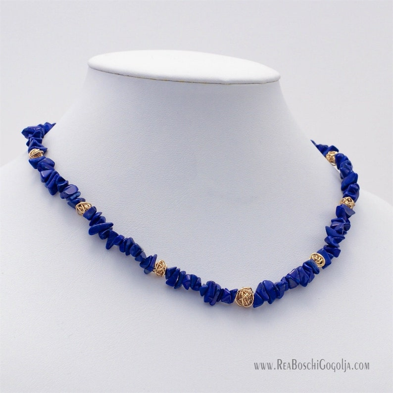 Unique Blue Lapis Lazuli Gemstone Necklace with Unique Gold image 0