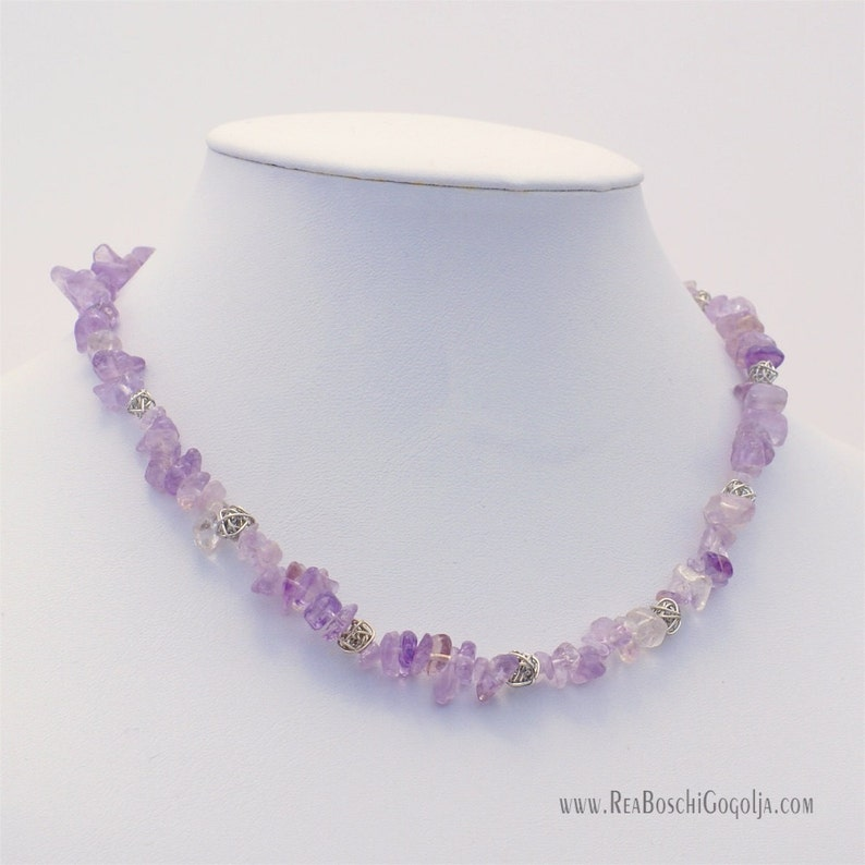 Unique Amethyst Gemstone Necklace with Unique Silver Handmade image 0