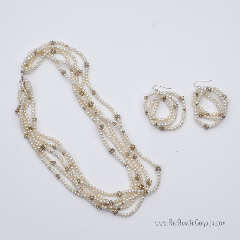 Set of Unique Multi Strand Necklace and Earrings with Sterling image 0