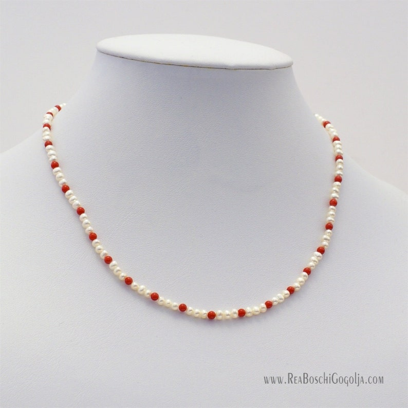 Natural Pearl Necklace with Red Natural Coral and Unique image 0