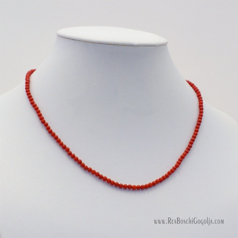 Red Natural Coral Necklace with Unique Sterling Silver image 0