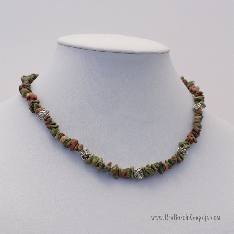 Unique Unakite Gemstone Necklace with Unique Silver Handmade image 0