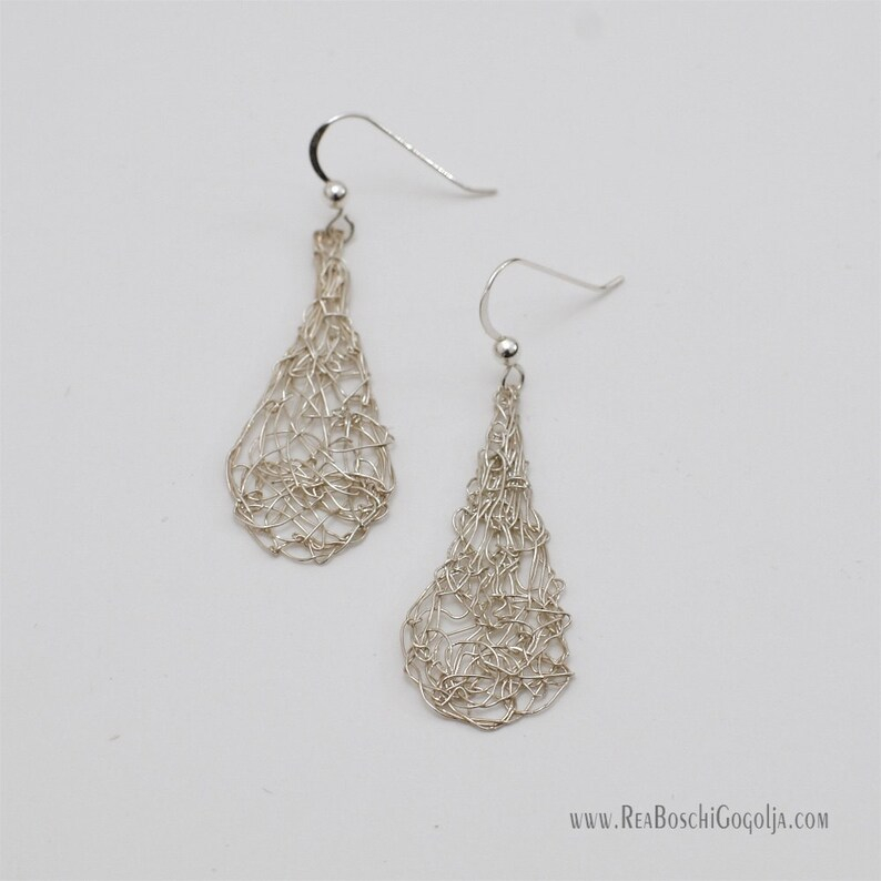 Unique Sculpted Sterling Silver Wire Net Drop Earrings image 0