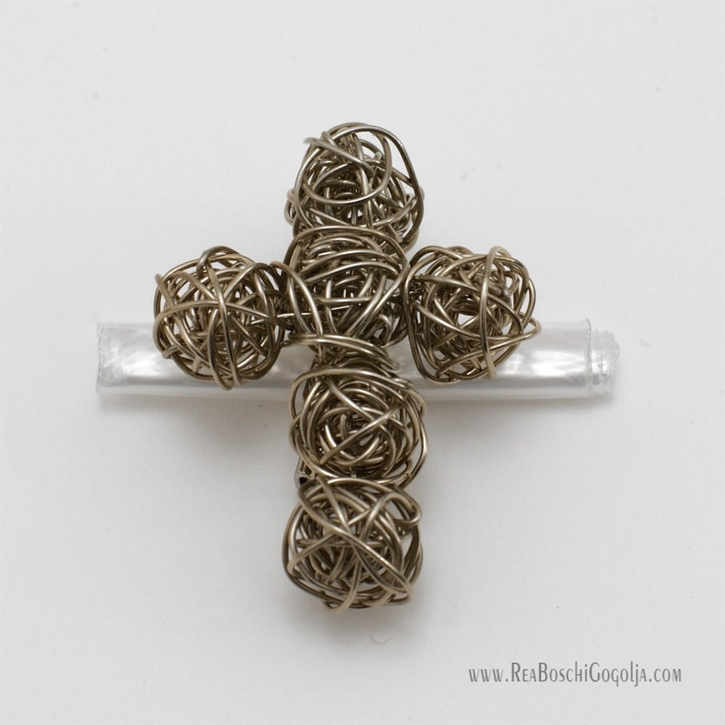 Unique Sculpted Silver Cross Wire Pin / Brooch / Broach image 0