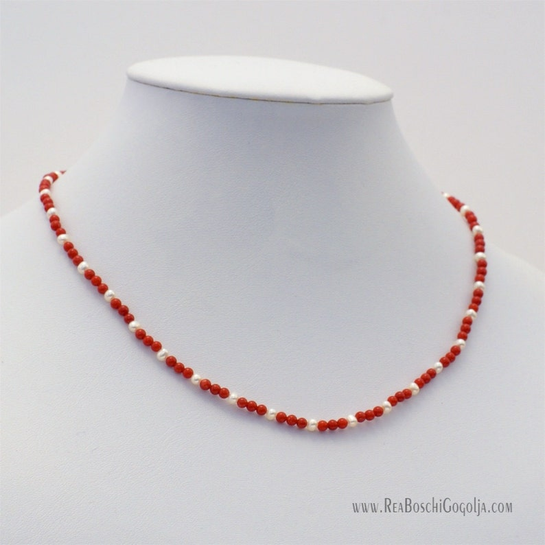 Red Natural Coral Necklace with Natural Pearls and Unique image 0