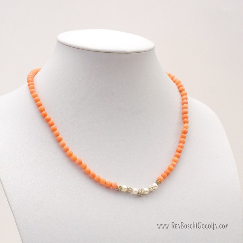 Salmon Natural Coral Necklace with Natural Pearls and Unique image 0