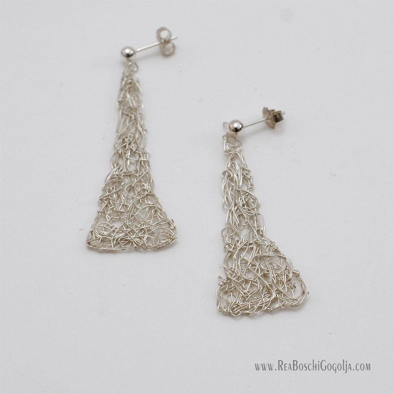 Unique Sculpted Sterling Silver Wire Net Triangle Earrings image 0
