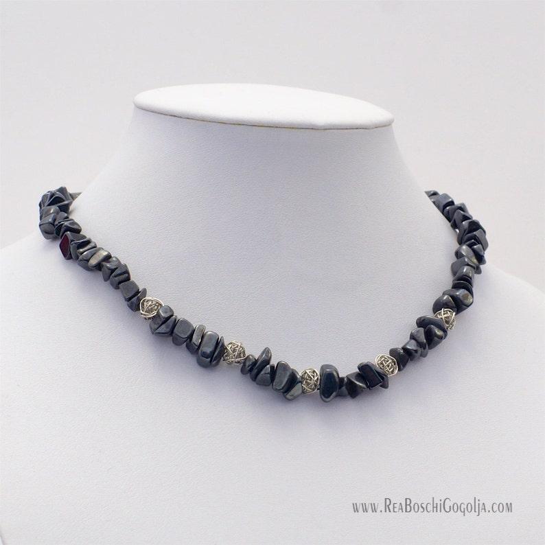 Unique Hematite Gemstone Necklace with Unique Silver Handmade image 0