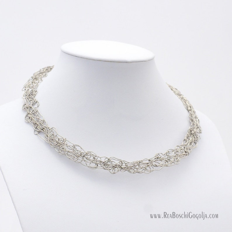 Unique Sculpted Silver Wire Net Necklace image 0