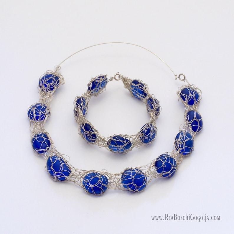 Set of Unique Necklace and Bracelet with Cobalt Blue Crystal image 0