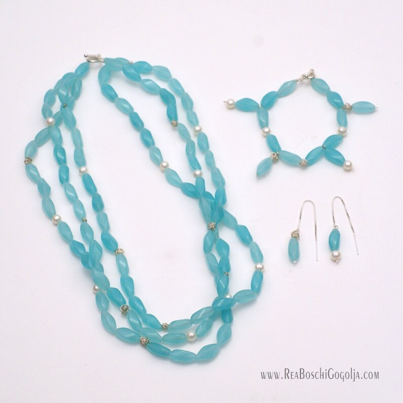 Set of Unique Multi Strand Necklace Earrings and Bracelet image 0