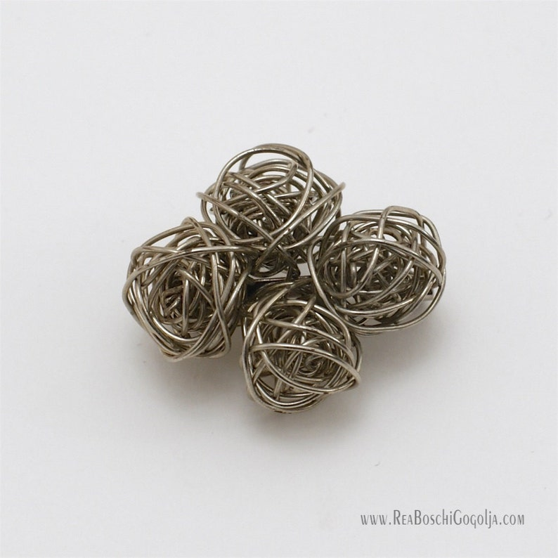Unique Sculpted Silver Wire Pin / Brooch / Broach image 0