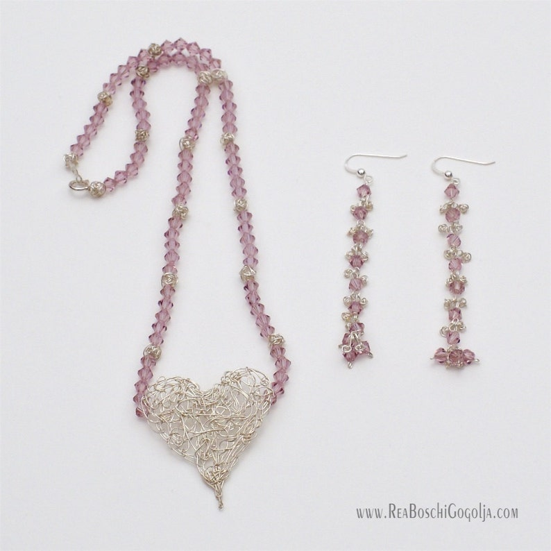 Set of Unique Necklace and Earrings with Sterling Silver image 0