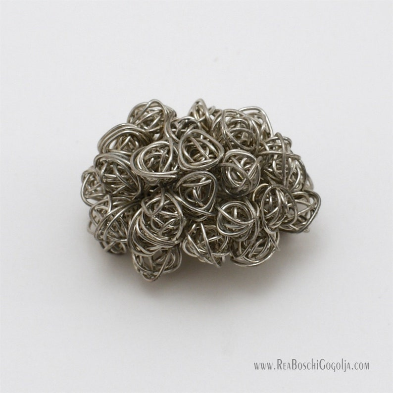 Unique Sculpted Silver Wire Bouquet Pin / Brooch / Broach image 0