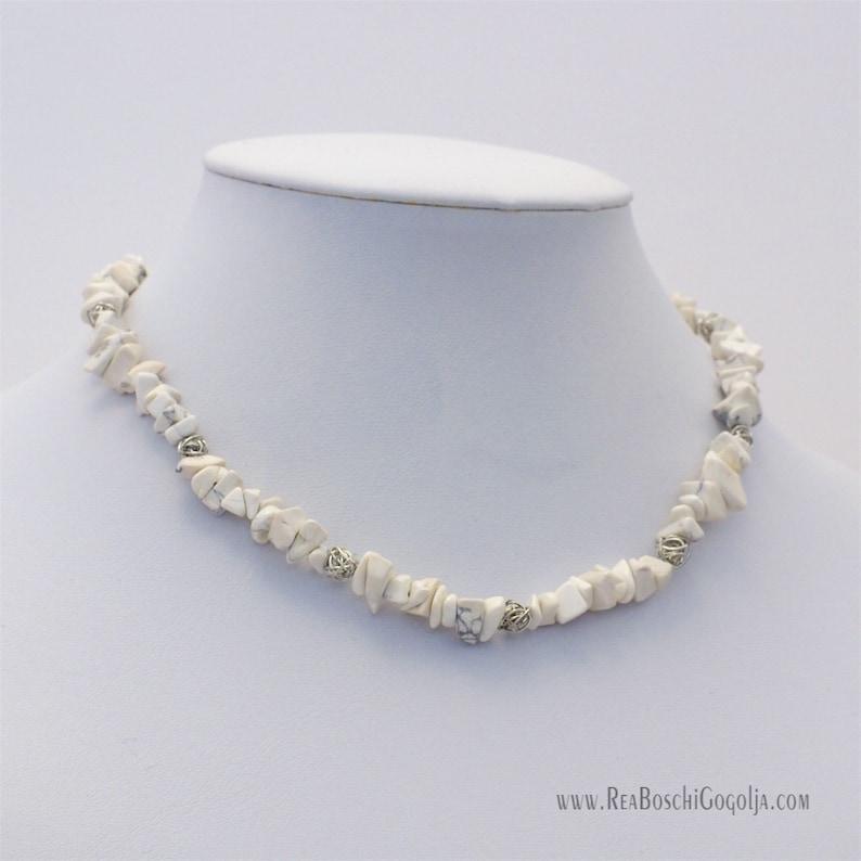 Unique Howlite White Gemstone Necklace with Unique Silver image 0