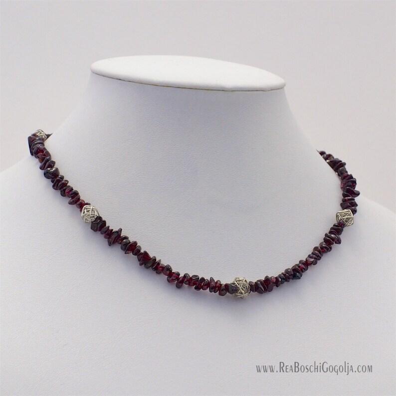 Unique Garnet Gemstone Necklace with Unique Silver Handmade image 0