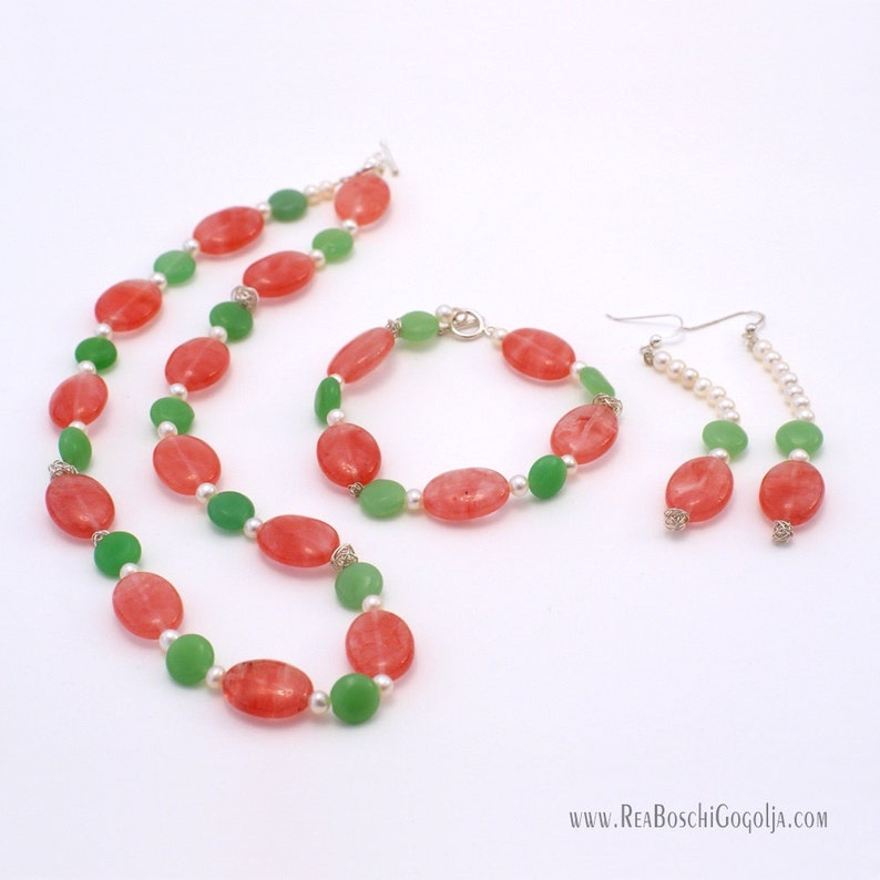 Set of Unique Necklace Earrings and Bracelet with Red and image 0
