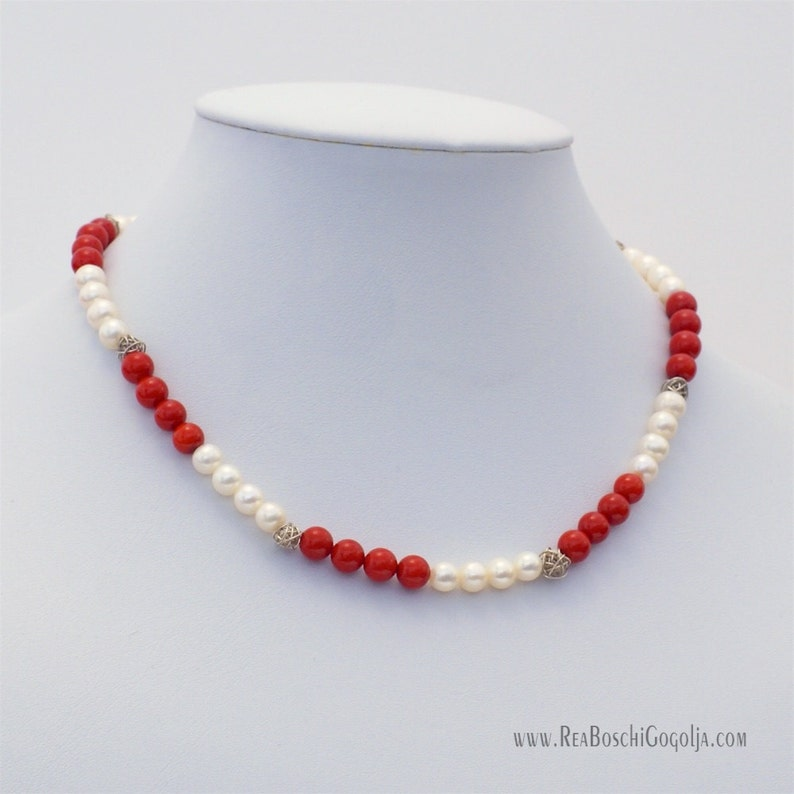 Natural Pearl and Red Natural Coral Necklace with Unique image 0
