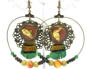 "Creole earrings ethnic ""Maasai"" orange & emerald green"
