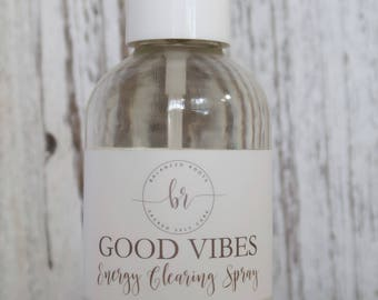 Good Vibes // Energy Clearing Spray | Smokeless Smudge | White Sage Rose Quartz | Yoga Meditation Spray | Natural Air Freshener | Reiki Gift