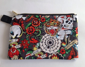 Handmade Ed Hardy tattoo print and pleather fabric clutch purse, pouch for  cosmetics, smart phone or passport 832fa50044