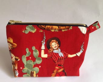 45a3212cf387 handmade retro red fabric pinup Cowgirl cactus cosmetic